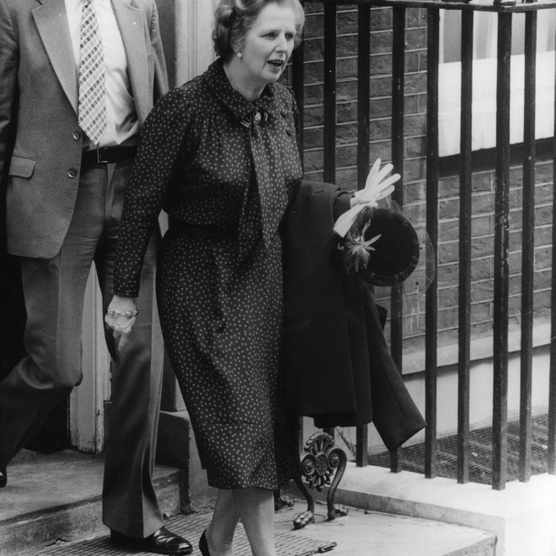 British prime minister Margaret Thatcher leaving Downing Street following the announcement that British forces had landed on the Falkland Islands, May 1982. (Photo by Central Press/Getty Images)