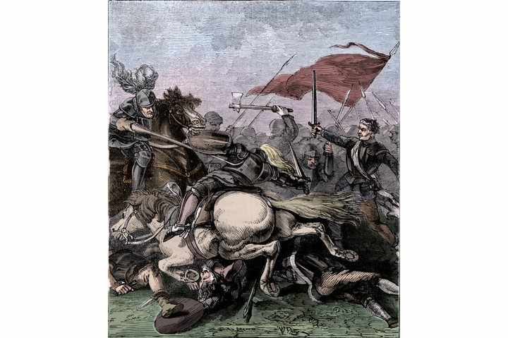 The Battle of Flodden or Flodden Field was a conflict between England and Scotland. The battle was fought in the county of Northumberland in northern England on 9 September 1513, between an English army commanded by the Earl of Surrey (1443-1524) and the invading Scots army under King James IV (1473-1513). The English were the victors and in terms of troop numbers, it was the largest battle fought between the two Kingdoms. James IV was killed in the battle and became the last monarch from the British Isles to die in battle. From a 'Pictorial Record of Remarkable Events in The History of the World', published by James Sangster and Co., c1910. (Colorised black and white print). Artist Unknown. (Photo by The Print Collector/Getty Images)