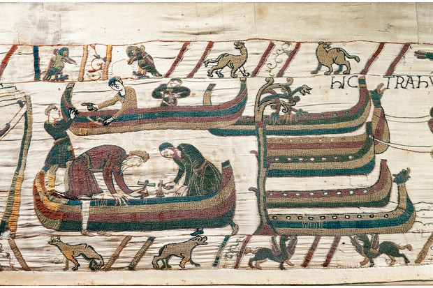 Men at work on ships, detail of Queen Mathilda's Tapestry or Bayeux Tapestry depicting Norman conquest of England in 1066, France, 11th century.
