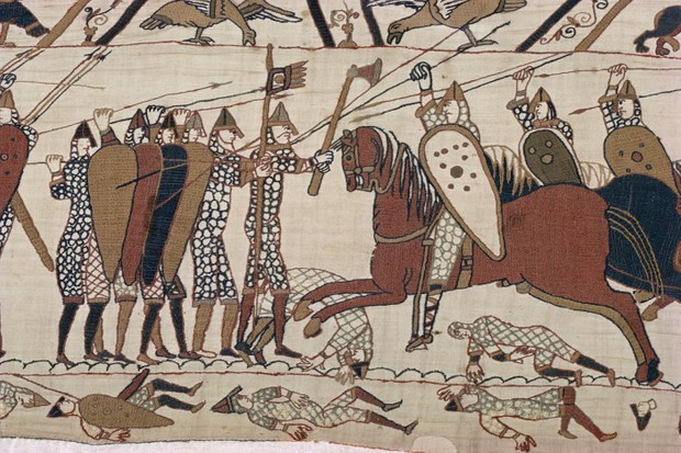 King Harold's foot soldieres with spears and battle axes, Bayeux Tapestry, Normandy, France, Europe