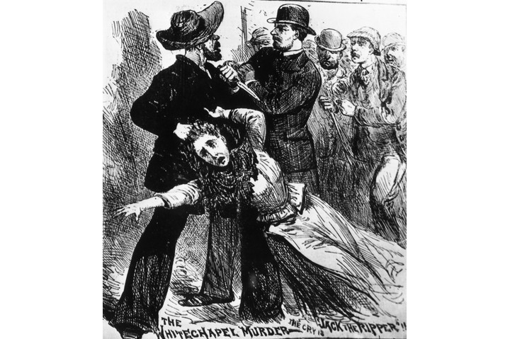 An engraving from 'The Illustrated Police News', c1889, imagines Jack the Ripper