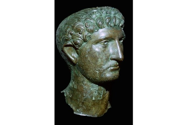 A second-century bronze head of Roman Emperor Hadrian