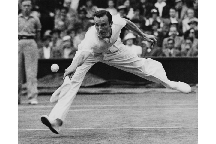 Fred Perry in action in the Wimbledon final in 1936. (Photo by Getty Images)
