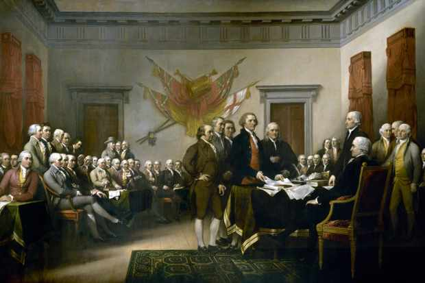 John Trumbull's painting, Declaration of Independence, depicting the five-man drafting committee of the Declaration of Independence