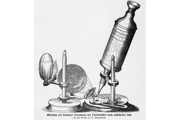An illustration of the compound microscope used by British inventor and microbiologist Robert Hooke