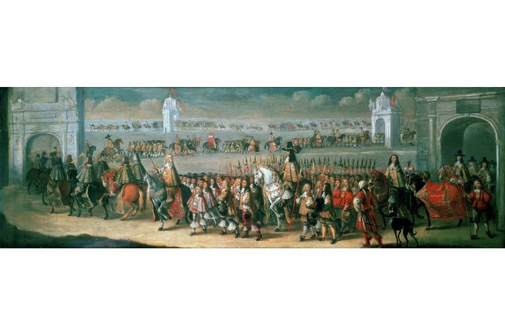 The procession of Charles II between the Tower of London and Westminster on the eve of his coronation. Painting by the Dutch painter and etcher Dirk Stoop (c1610-c1685). (Photo by Universal History Archive/Getty Images)