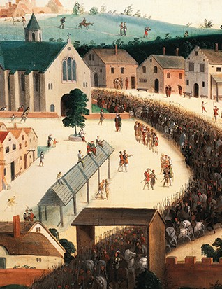 Closeup of the procession in the Field of the Cloth of Gold painting