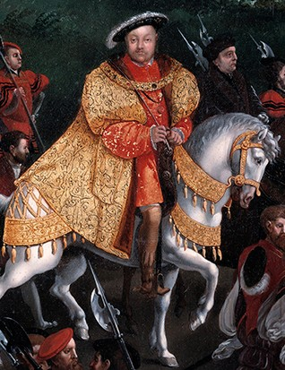 Closeup of Henry VIII on horseback in the Field of the Cloth of Gold painting