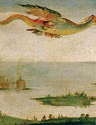 Closeup of the dragon kite in the Field of the Cloth of Gold painting