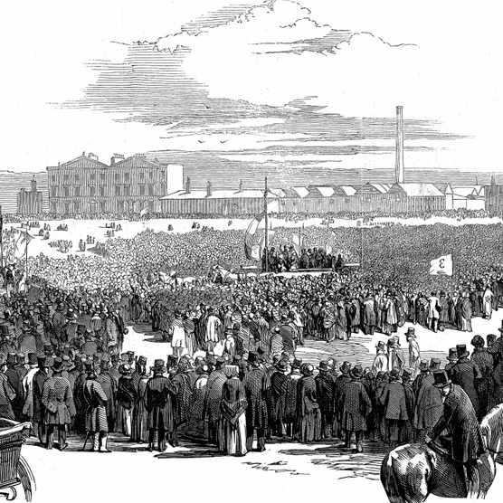 Mass meeting of Chartists on Kennington Common, London, 10 April 1848