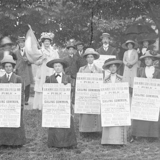 A 'poster parade' of Ealing suffragettes advertising a meeting to be held on Ealing Common, 1 June 1912. (Photo by Museum of London/Heritage Images/Getty Images)