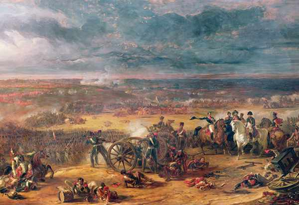 Napoleon watches on as the fighting at Waterloo unfolds in this 1843 painting