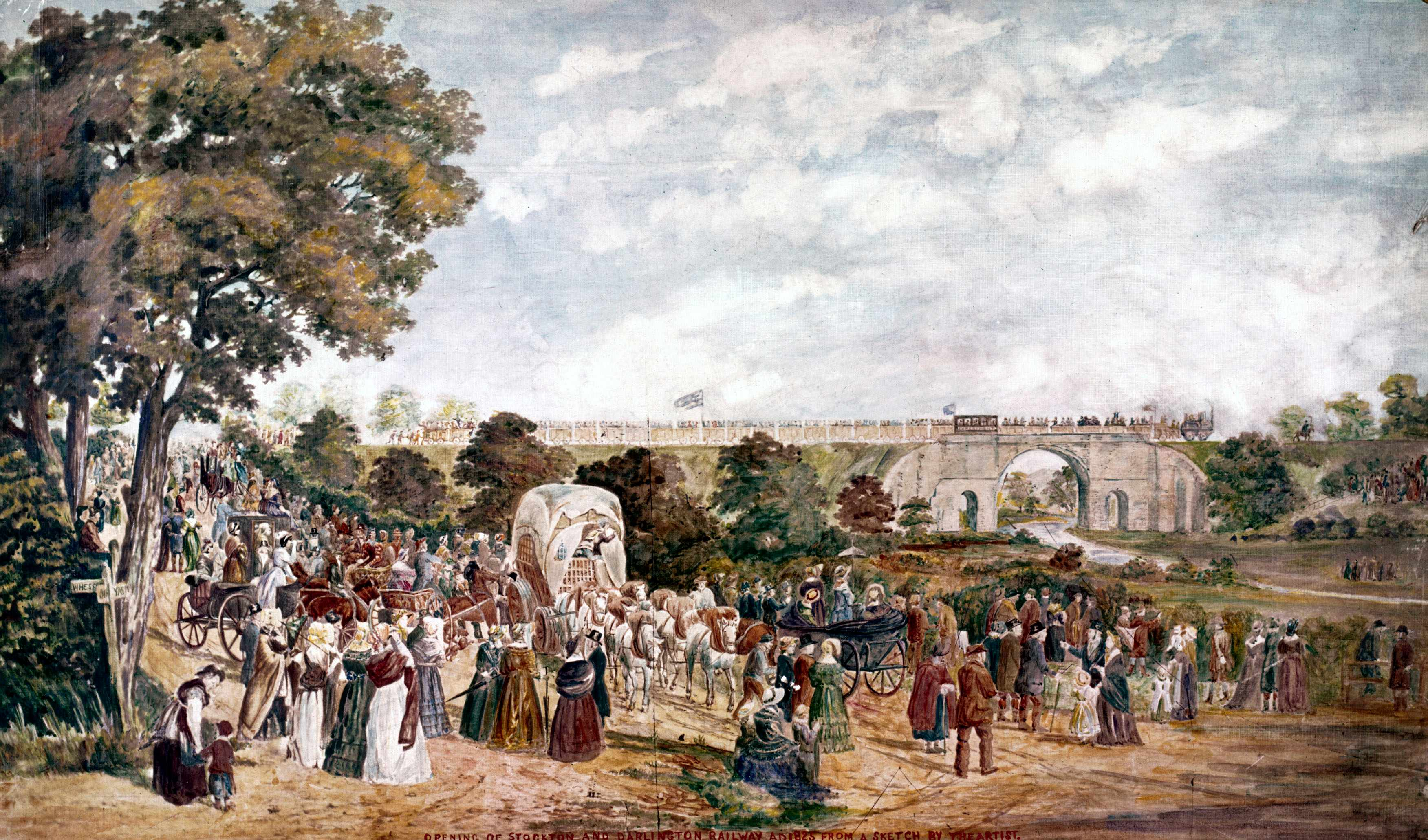 Watercolour by John Dobbin showing crowds gathered at the opening of the Stockton & Darlington Railway. (Photo by SSPL/Getty Images)