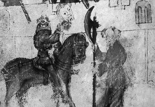 The Green Knight shows his severed – and still talking – head to King Arthur in this illustration of the beginning of the 14th century legend of Sir Gawain and the Green Knight