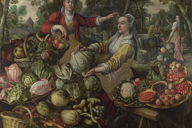 A fruit and vegetable market, painted by Joachim Beuckelaer.