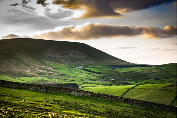Scenic View On Pendle Hill At Springtime