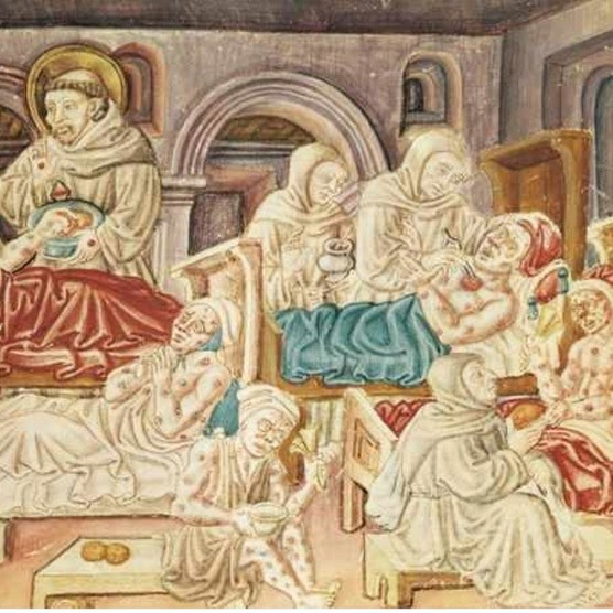 The Franciscans treating victims of the plague, miniature from La Franceschina, c1474, codex by Jacopo Oddi. Perugia, Biblioteca Capitolare (Library). (Photo by DeAgostini/Getty Images)