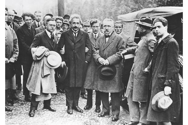Albert Einstein (second left) at a 'No More War' rally in 1923
