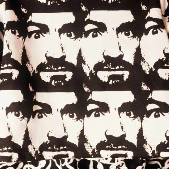 Charles Manson stares out from fabric on sale in San Francisco