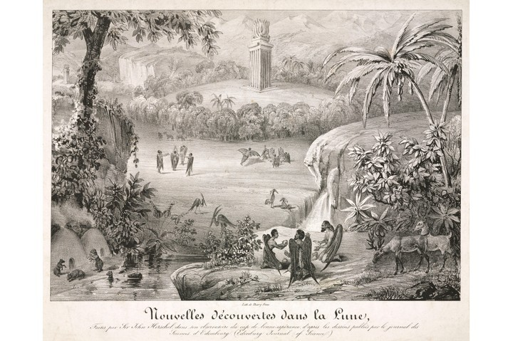 A French print by the Thierry bothers depicting the appearance of the landscape and inhabitants of the Moon