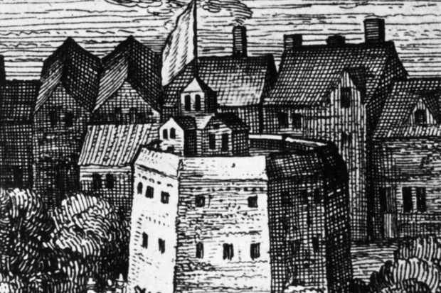 A woodcut showing the Globe Theatre, one of London's most famous landmarks and the venue most closely associated with Shakespeare's plays. (Hulton Archive/Getty Images)