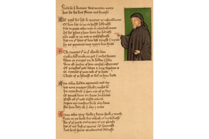 A portrait of Geoffrey Chaucer from an early 15th-century manuscript of the poem 'De Regimine Principum' by Thomas Hoccleve. (Photo by Universal History Archive/Getty Images)