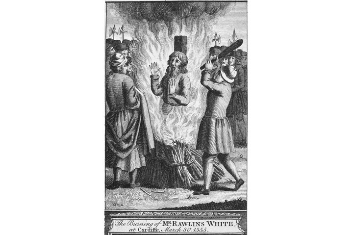 Line engraving depicting the burning of Rawlins White, c1555. From a late 18th-century edition of John Foxe's 'The Book of Martyrs'. (Alamy)
