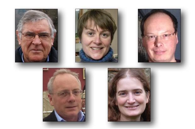 Bayeux Tapestry Day speakers (l to r): Trevor Rowley, George Garnett, Alexandra Lester-Makin, Leonie Hicks, Michael Lewis