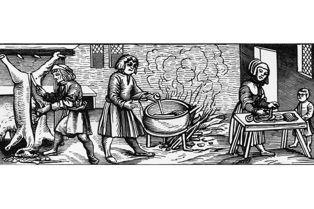 A woodcut showing the interior of a kitchen in Elizabethan England. (Hulton Archive/Getty Images)