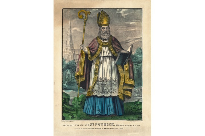 A hand-coloured lithograph showing St Patrick, national apostle of Ireland. (VCG Wilson/Corbis via Getty Images)