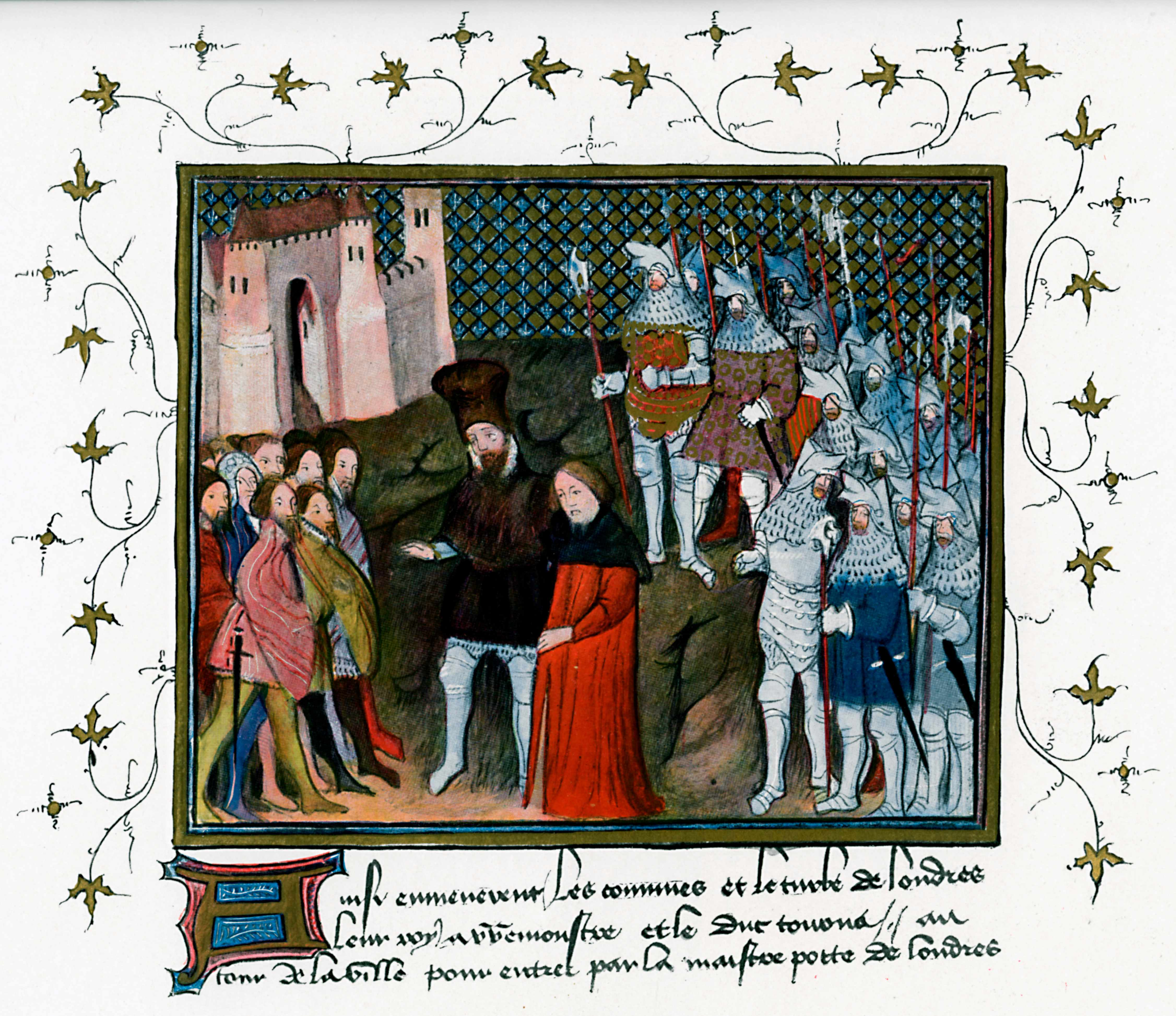 Richard II, led captive by Henry Bolingbroke (later Henry IV), renounces the throne in Jean Creton's 'Histoire du Roy d'Angleterre Richard II' (1401-05). (Photo by The Print Collector/Print Collector/Getty Images)