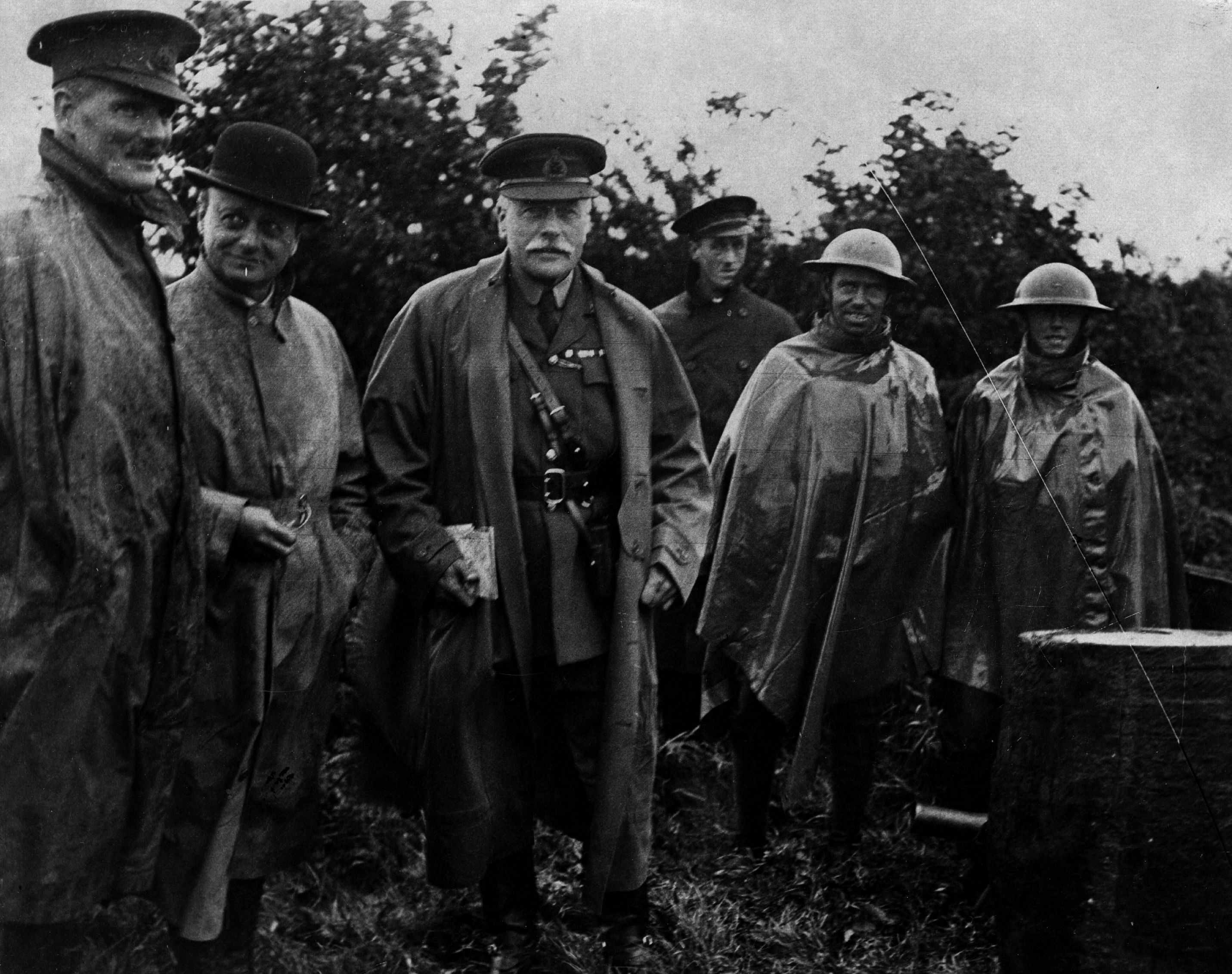 Scottish soldier and Field Marshal Douglas Haig (1861 - 1928) visiting the troops during the First World War. (Central Press/Getty Images)