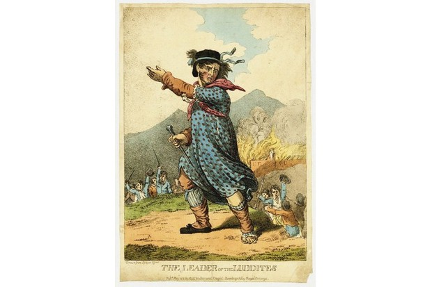 A cartoon depiction of mythical Luddite leader Ned Ludd. (Fine Art Images/Heritage Images/Getty Images)
