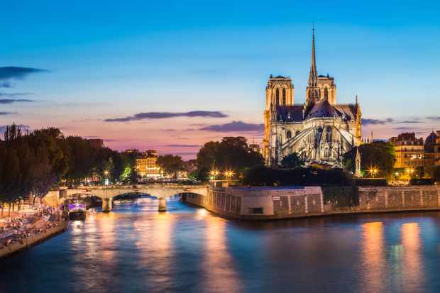 A contemporary view of the river Seine and Notre-Dame de Paris. (Getty Images)