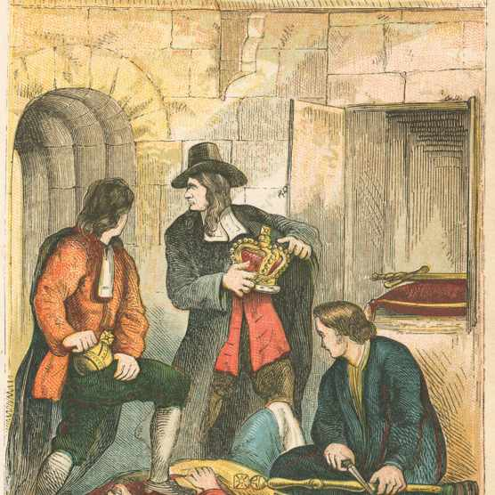 Thomas Blood hides StEdward's Crown under his clerical robes in a 19th-century illustration. (Hulton Archive/Getty Images)
