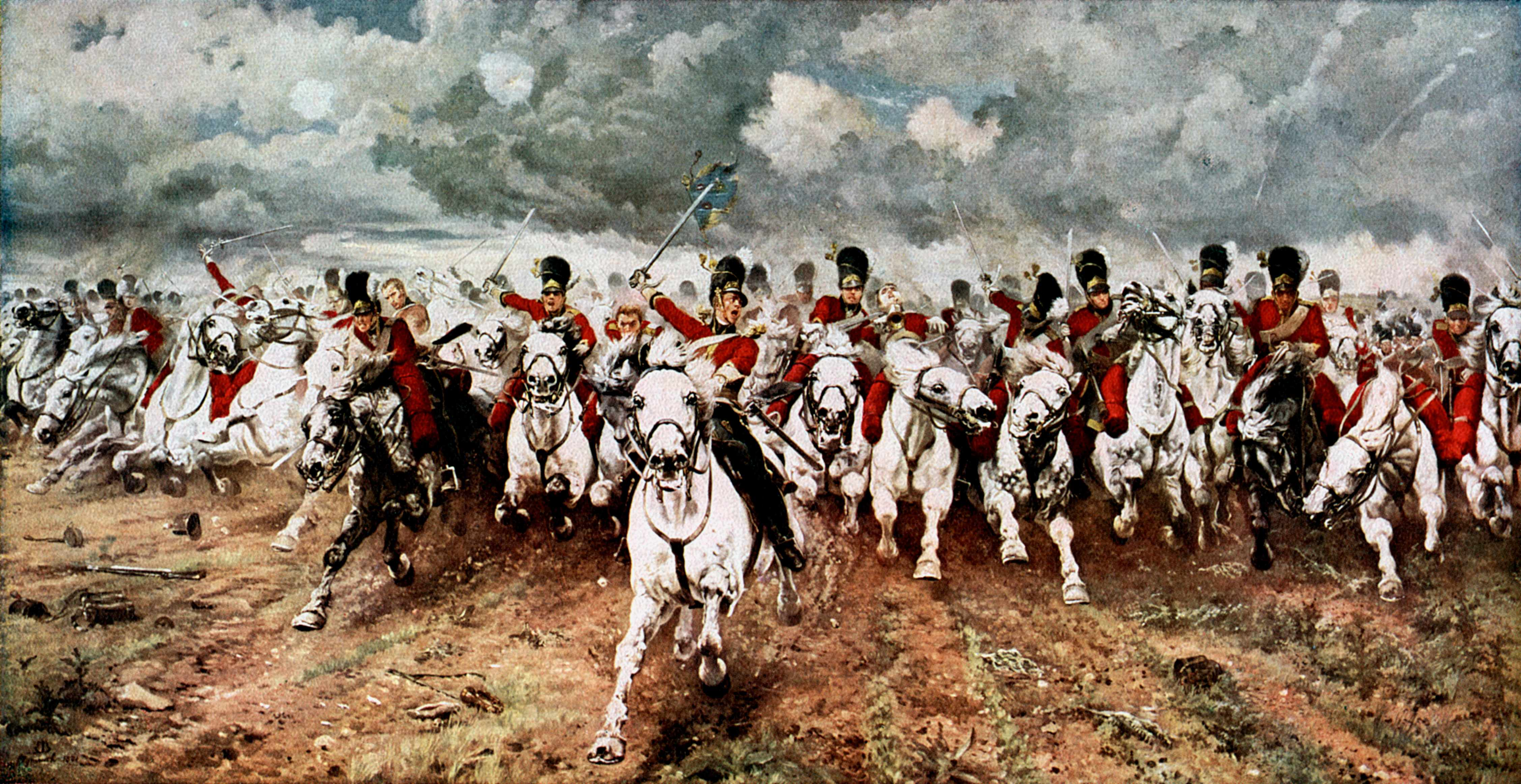 The charge of the Scots Greys at the battle of Waterloo, 18 June 1815, was immortalised in this famous painting of 1881 by Lady Elizabeth Butler (1846-1933). (Ann Ronan Pictures/Print Collector/Getty Images)