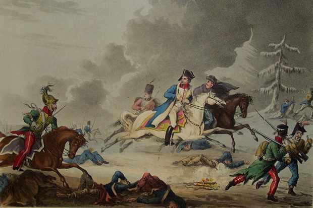 The Flight of Bonaparte from the Battle of Krasnoi, 1815. Artist: Sutherland, Thomas (1785-1838)