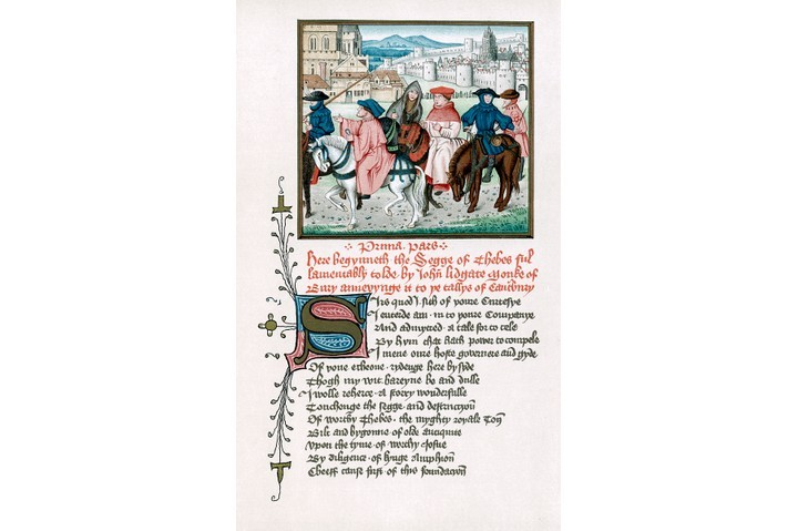 An illustration depicting medieval pilgrims. (Ann Ronan Pictures/Print Collector/Getty Images)