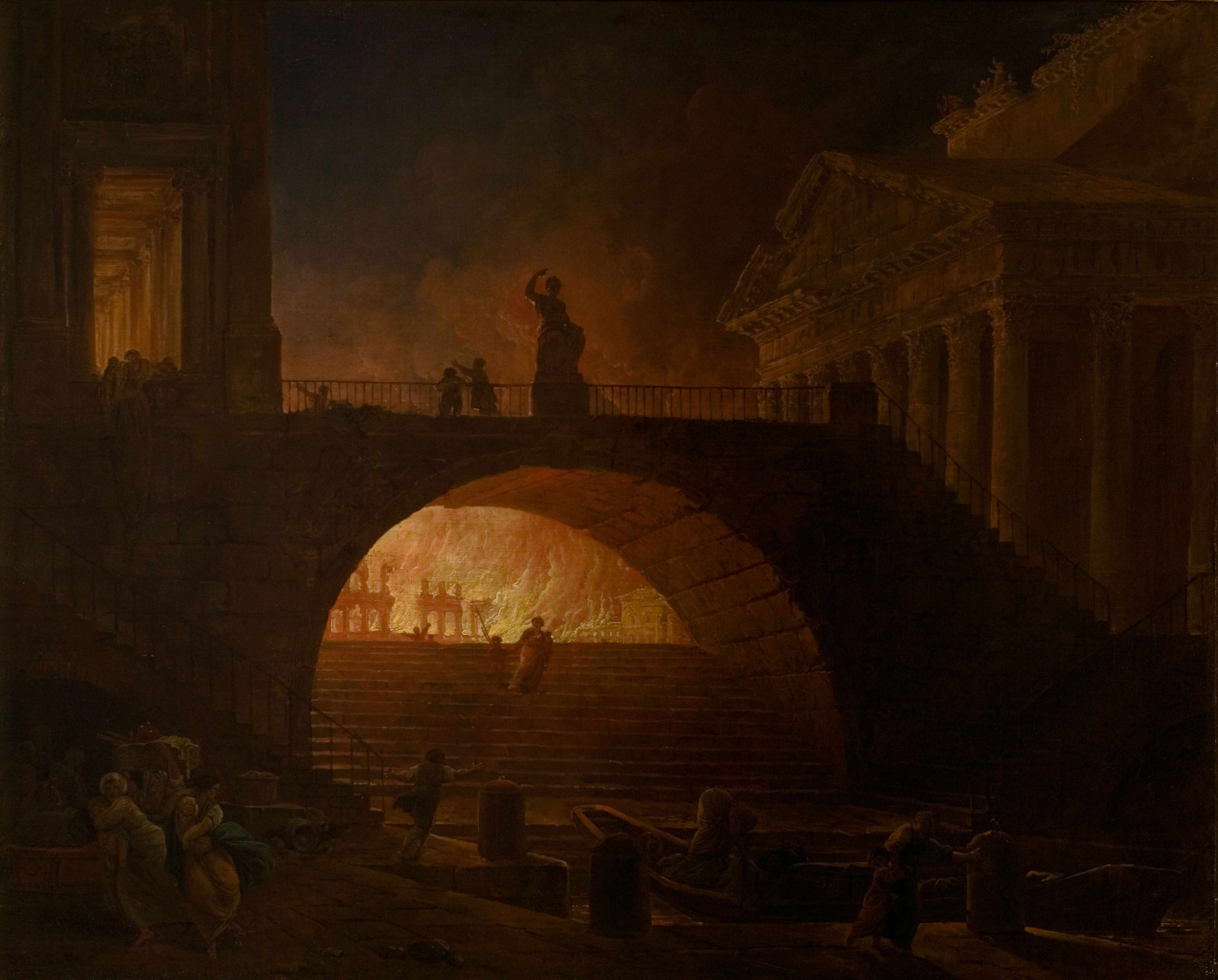 "The Fire of Rome, by Hubert Robert (1733-1808). ""It was the worst possible place for a fire to break out, and fear turned into outright panic,"" says Dominic Sandbrook.  Fine Art Images/Heritage Images/Getty Images)"