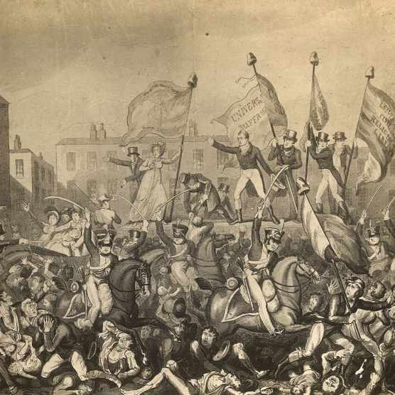 As many as 15 people may have been killed, and a further 500 badly injured, during the 1819 riot in Manchester that came to be known as the 'Peterloo' Massacre. (Rischgitz/Getty Images)