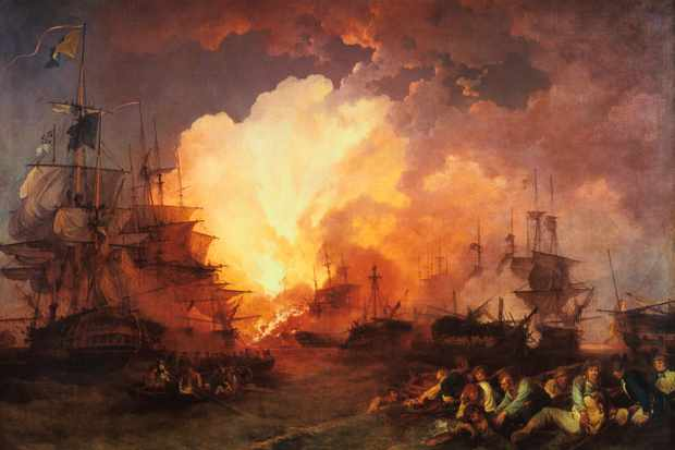 The battle of the Nile, fought at night in the Abu Qir Bay near Alexandria. (Art Media/Print Collector/Getty Images)