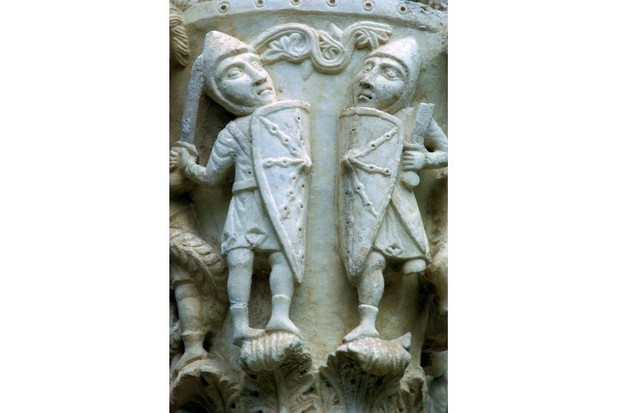 Detail of a column showing Norman soldiers, c12th century. (CM Dixon/Print Collector/Getty Images)