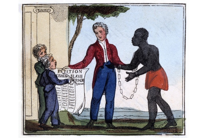 """An illustration titled 'The petition for abolishing the slave trade', from Amelia Opie's 'The Black Man's Lament; or How to Make Sugar', London, 1826. """"Come, listen to my plaintive ditty,/Ye tender hearts, and children dear!/And, should it move your souls to pity,/Oh! try to end the griefs you hear."""" (Photo by Photo 12/UIG via Getty Images)"""