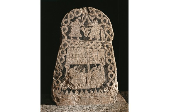 A runestone depicting two warriors fighting and the journey of the Vikings to Valhalla, the hall of slain. (DEA/G. DAGLI ORTI/De Agostini/Getty Images)