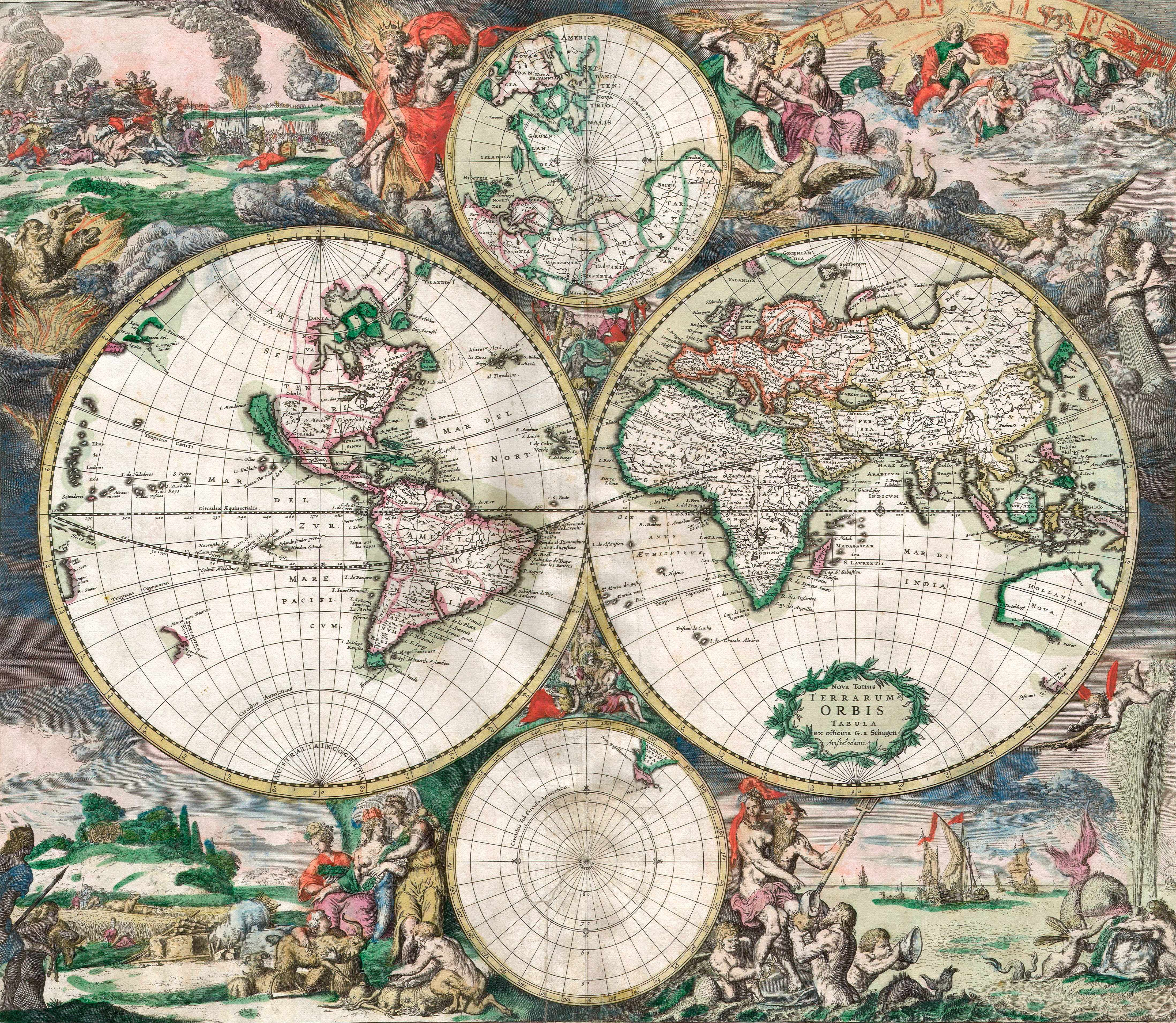 Antique double-hemisphere map of the world, complete with landscapes and mythological scenes. (GraphicaArtis/Getty Images)