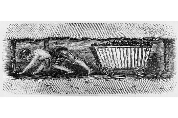 A sketch of a young woman miner pulling a cart filled with coal. From the report of the Royal Commission, c1842. (Hulton-Deutsch Collection/CORBIS/Corbis via Getty Images)