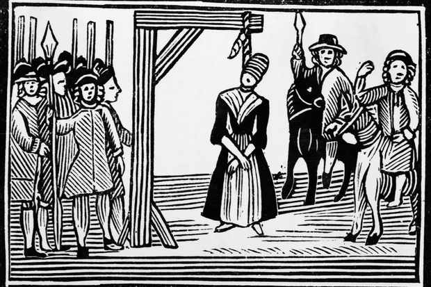 Woodcut Of A English Witch Hanging