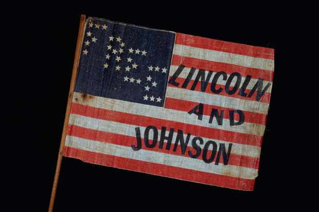 A 1864 campaign banner. (David J & Janice Frent/Corbis via Getty Images)