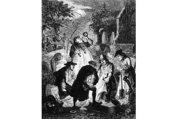 'Resurrectionists', or grave robbers, stealing a corpse from a cemetery to be sold for anatomical study and dissection, c1840. (Hulton Archive/Getty Images)