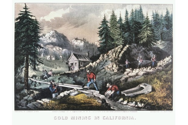 Gold miners in California in 1849. The gold rush sparked one of the greatest mass migrations in American history. (Universal History Archive/Getty Images)